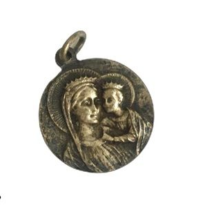 Vintage Catholic Medal Mary & Child Pendant Silver